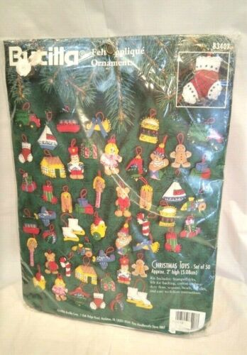 Vintage Bucilla Ornaments Kit Felt Applique Makes 50 Ornaments Sealed 1996
