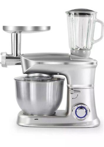 Küchenmaschine Rührmaschine Knetmaschine Teigkneter 3in1 Silb 6,5 L 1900 W max.