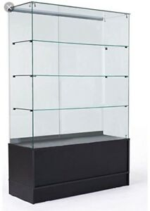 Retail Glass Display with Wood Cabinet Base