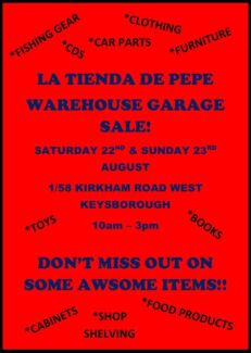 WAREHOUSE GARAGE SALE NOT TO MISS!! Keysborough Greater Dandenong Preview