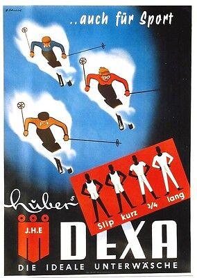 Original vintage poster DEXA HUBER SKI SPORT UNDERWEAR c.1950