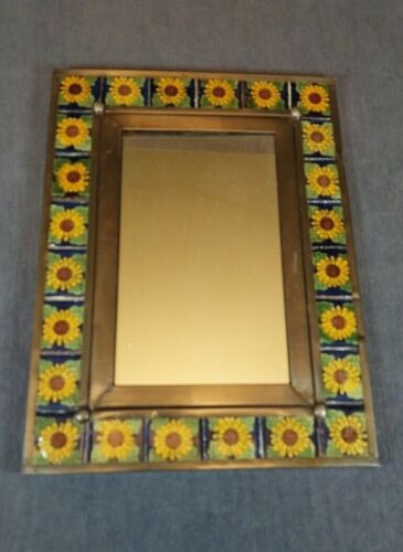 VINTAGE HAND CRAFTED MARCO TALVERA SUNFLOWER TILE & TIN WALL MIRROR