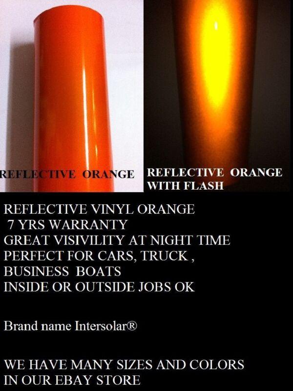"24"" x 50 ft  ORANGE  Reflective Vinyl Adhesive Cutter Sign Hight Reflectivity"