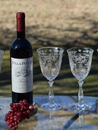 "Vintage Acid Etched Crystal Wine Glasses, Set of 1, Fostoria Navarre, 6 1/2"""