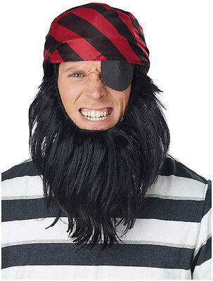 Red & Black Pirate Scarf & Beard & Eye Patch Adult Halloween Costume Accessories (Red Beard Halloween Costume)