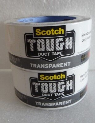2 Scotch Tough Duct Tape Transparent 1.88 X 20yds Clear Indoor Outdoor Use