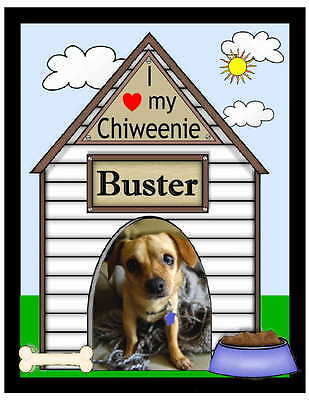 Personalized Chiweenie Dog Photo Magnet Doghouse Design