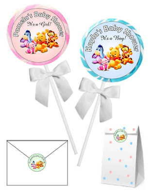 20 WINNIE THE POOH BABY SHOWER FAVORS STICKERS LABELS for lollipops, goody bags - Baby Shower Bags