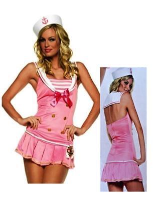 Shipmate Cutie Sexy Pink Halter Mini Dress Hat Halloween Adult Womens Costume N8
