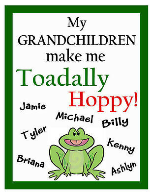 PERSONALIZED FROG GRANDCHILDREN FRIDGE MAGNET (Personalized Refrigerator Magnets)