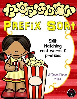 Popcorn Prefix Sorting Literacy Bag Supplies phonics center Teacher Made - Prefix Game