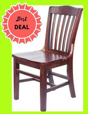 Mahogany Finished School House Back Wooden Restaurant Chair With Solid Wood Seat