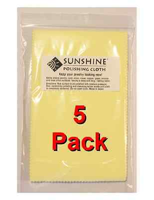 Five (5) Sunshine Polishing Cloth Jewelry Cleaner Gold Silver Brass Polisher