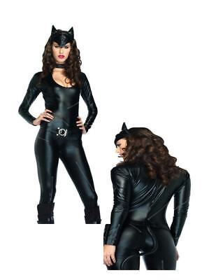 Feline Femme Fatale 3 pc Sexy Black Panther Catsuit Catwoman Adult Costume N30