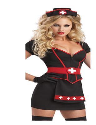 Cardiac Arrest Dark Nurse Sexy Mini Dress Hat Belt Adult Womens Costume Small N8](Cardiac Arrest Costume)