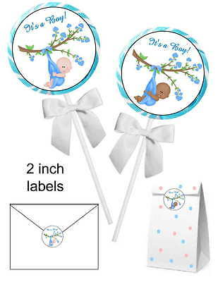20 ~ BLUE IT'S A BOY BABY SHOWER FAVORS STICKERS for lollipops, goody bags, etc