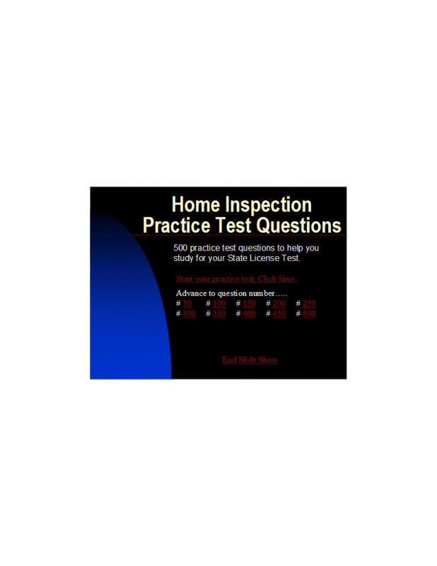 Home Inspector / Home Inspection - 500 question State License practice test