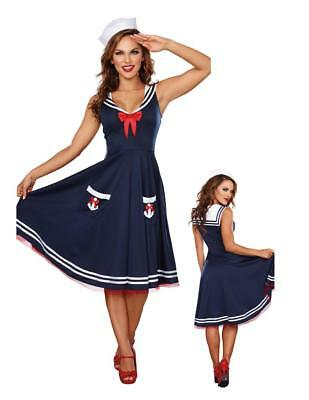 All Aboard Nautical Sailor Navy Blue Uniform Dress Adult Womens Costume - Blue Sailor Costume