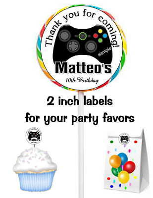 20 VIDEO GAME XBOX BIRTHDAY PARTY FAVORS STICKERS LABELS FOR YOUR PARTY - Games For Birthday Parties