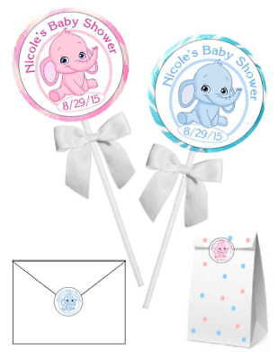 20 ELEPHANT BABY SHOWER FAVORS STICKERS LABELS for lollipops, goody bags, etc