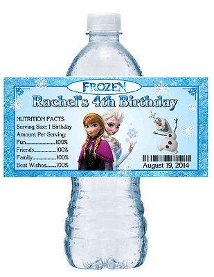 20 DISNEY FROZEN BIRTHDAY PARTY FAVORS WATER BOTTLE LABELS waterproof ink - Bottle Labels