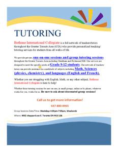 Grade 9-12 tutoring