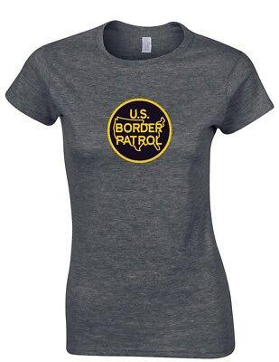 US Border Patrol Funny Trump Yellow Logo Conservative Ladies Women Gray T-shirt Border Patrol T-shirt Tee Top