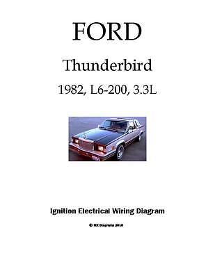 FORD Thunderbird 1982 82 L6 3.3L Ignition color wiring diagram schematic