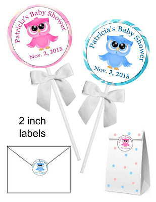 Owls For Baby Shower (20 ~ OWL BABY SHOWER FAVORS STICKERS LABELS for lollipops, goody bags)