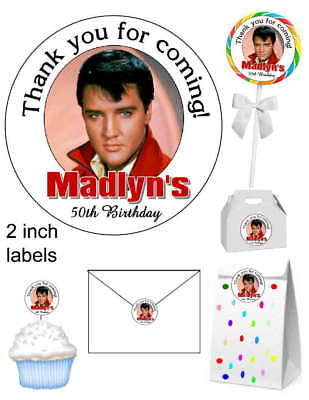 20 ELVIS PRESLEY BIRTHDAY PARTY FAVORS STICKERS LABELS FOR YOUR PARTY FAVORS - Elvis Presley Party Supplies