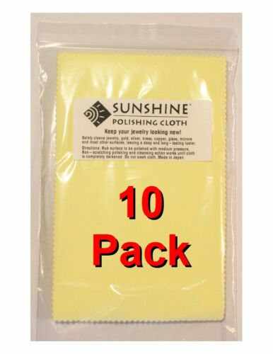 Ten (10) Sunshine Polishing Cloth Jewelry Cleaner Gold Silver Brass Polisher
