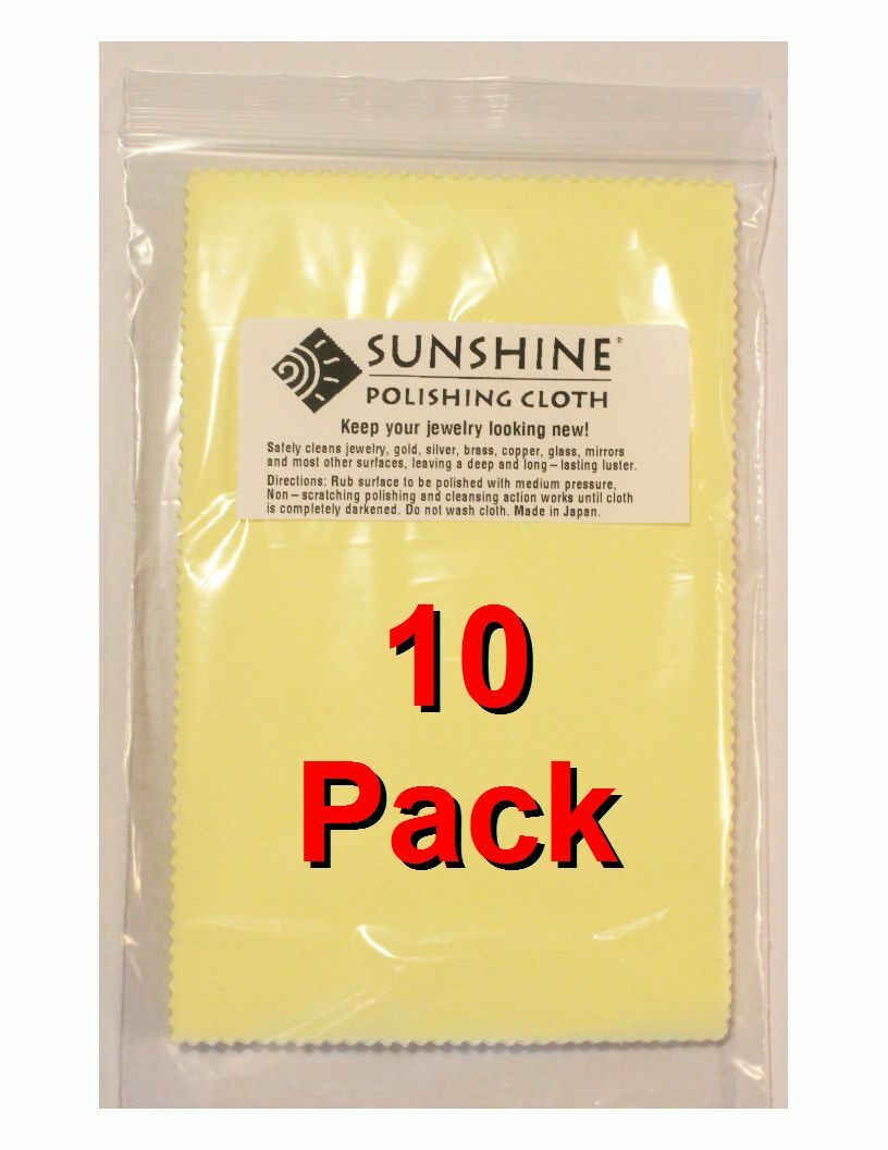 Ten  Sunshine Polishing Cloth Jewelry Cleaner Gold Silver Br