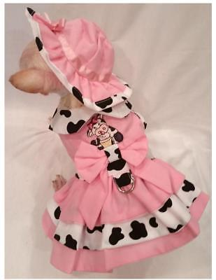 Dog harness dress set/dog dress/dog clothes/ CUPCAKE COWGIRL xs,s,m,l FREE -