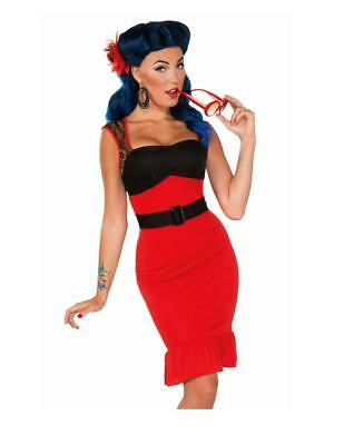 40's Pin Up Scarlet Rose Rockabilly Sexy Retro Rock Adult Costume N29 - 1950's Pin Up Halloween Costumes