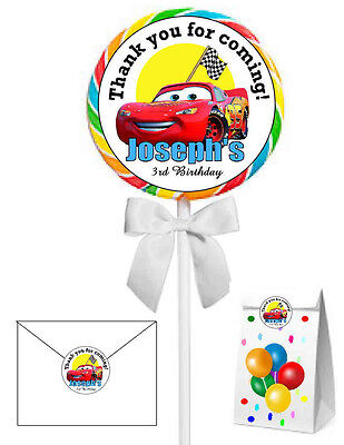40 DISNEY CARS BIRTHDAY PARTY FAVORS LOLLIPOP STICKERS ~ goody bags, seals, etc