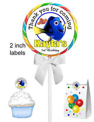 Finding Nemo Birthday Party (20 FINDING NEMO DORY BIRTHDAY PARTY FAVORS STICKERS LABELS FOR lollipops)