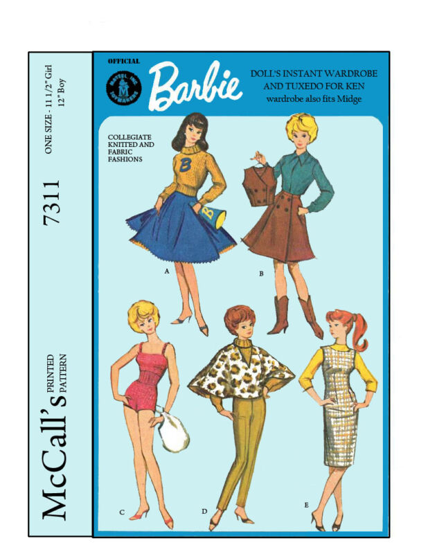 Reproduced McCalls 7311 - Barbie, Midge and Ken Doll Clothes Sewing Patterns