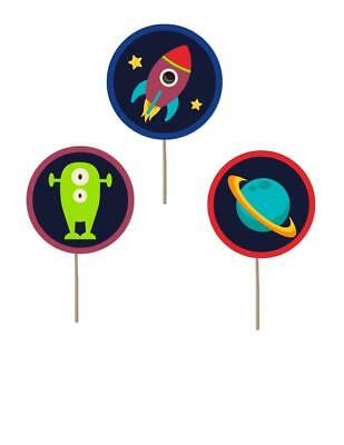 Space Birthday Cupcake toppers space theme decorations picks space birthday (Cupcake Birthday Theme)