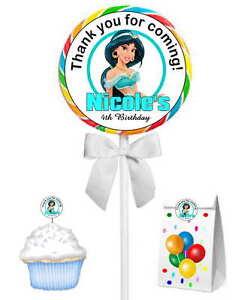 40 PRINCESS JASMINE BIRTHDAY PARTY LOLLIPOP STICKERS ~ goody bags, env seals