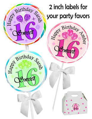 20 SWEET 16 SIXTEEN BIRTHDAY PARTY FAVORS STICKERS LABELS for PARTY FAVORS