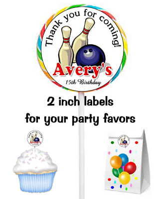 Bowling Favor Bags (20 BOWLING BIRTHDAY PARTY FAVORS STICKERS LABELS FOR LOLLIPOPS GOODY)