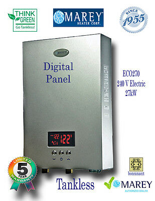 Electric Tankless Instant Water Heater Marey ECO270 6.5 GPM Best Whole House