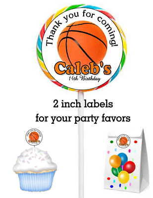 20 BASKETBALL BIRTHDAY PARTY FAVORS STICKERS LABELS FOR LOLLIPOPS GOODY BAGS - Basketball Goodie Bags