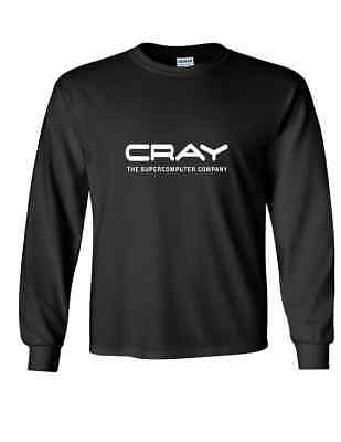 Cray Supercomputer White Logo Super Computer Black Long Sleeve Cotton T Shirt