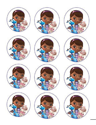 Doc McStuffins edible party cupcake toppers decoration 12/sheet - Doc Mcstuffin Cupcake Toppers