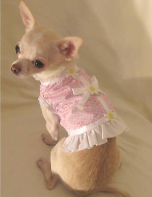 Dog harness/dog dress/Pink Delicate Daisy-Size Medium or large only! -FREE SHIP