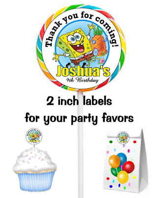 20 SPONGEBOB BIRTHDAY PARTY FAVORS STICKERS LABELS FOR YOUR PARTY FAVORS