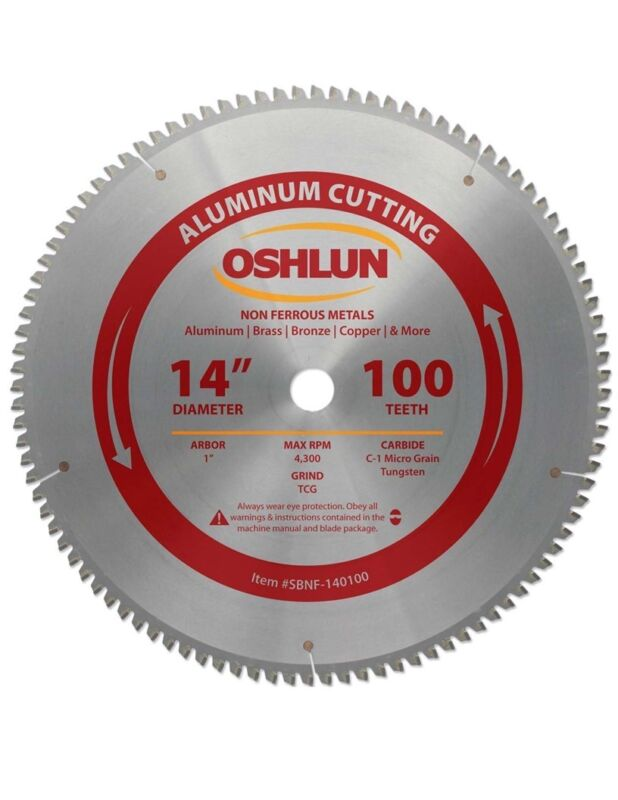 "OSHLUN  SBNF-140100  14"" x 100T Aluminum Cutting Saw Blade"