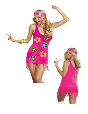 60's Go-Go Dancer Groovy Baby Hippie Flower Power Adult Womens Costume N28 (Flower Power Hippie)