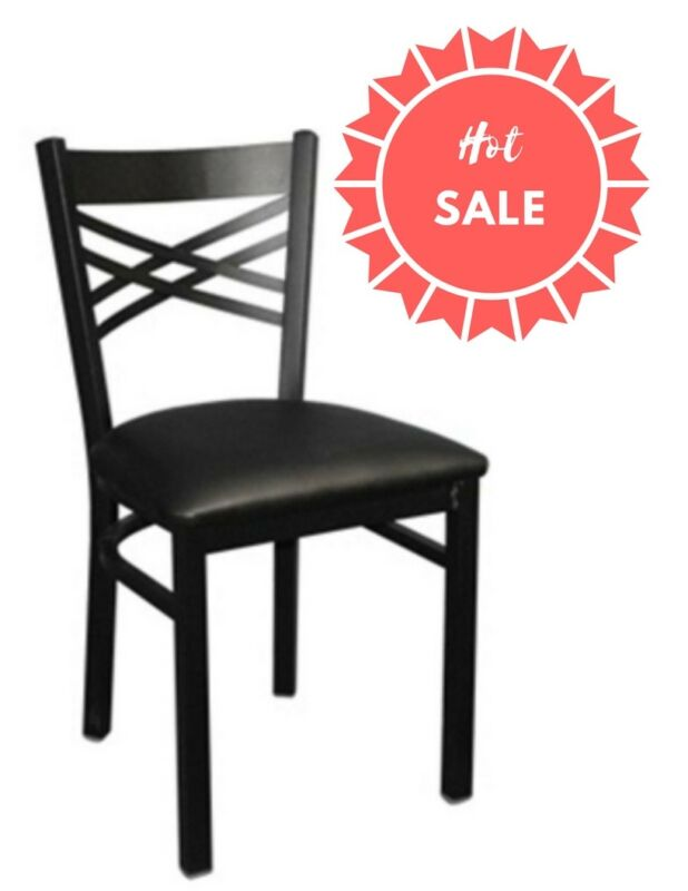 "Black ""X"" Back Metal Restaurant Chair With Black Vinyl Seat"